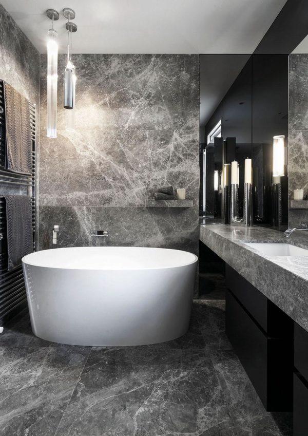 Elegant Grey Limestone Bathroom CDK Stone