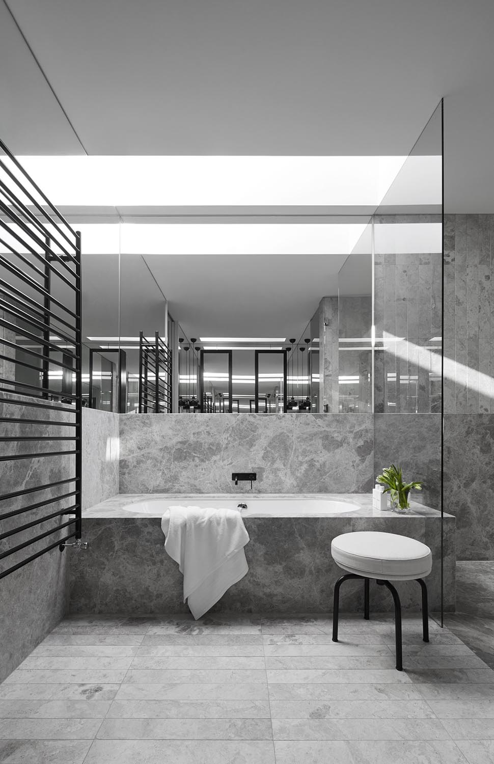 Gray and White Marble Bathroom Design