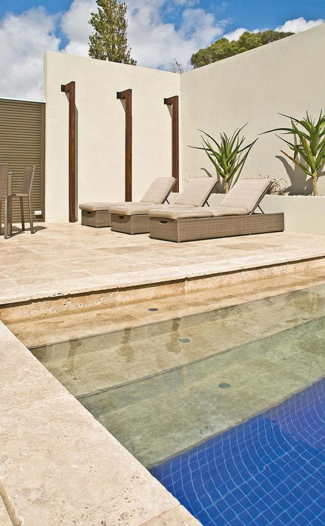 Tumbled Walnut Travertine Pool Area Natural Stone CDK Stone