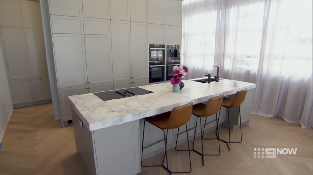 The Block Jess and Norm CDK Stone Calacatta Marble Cote D'Azure