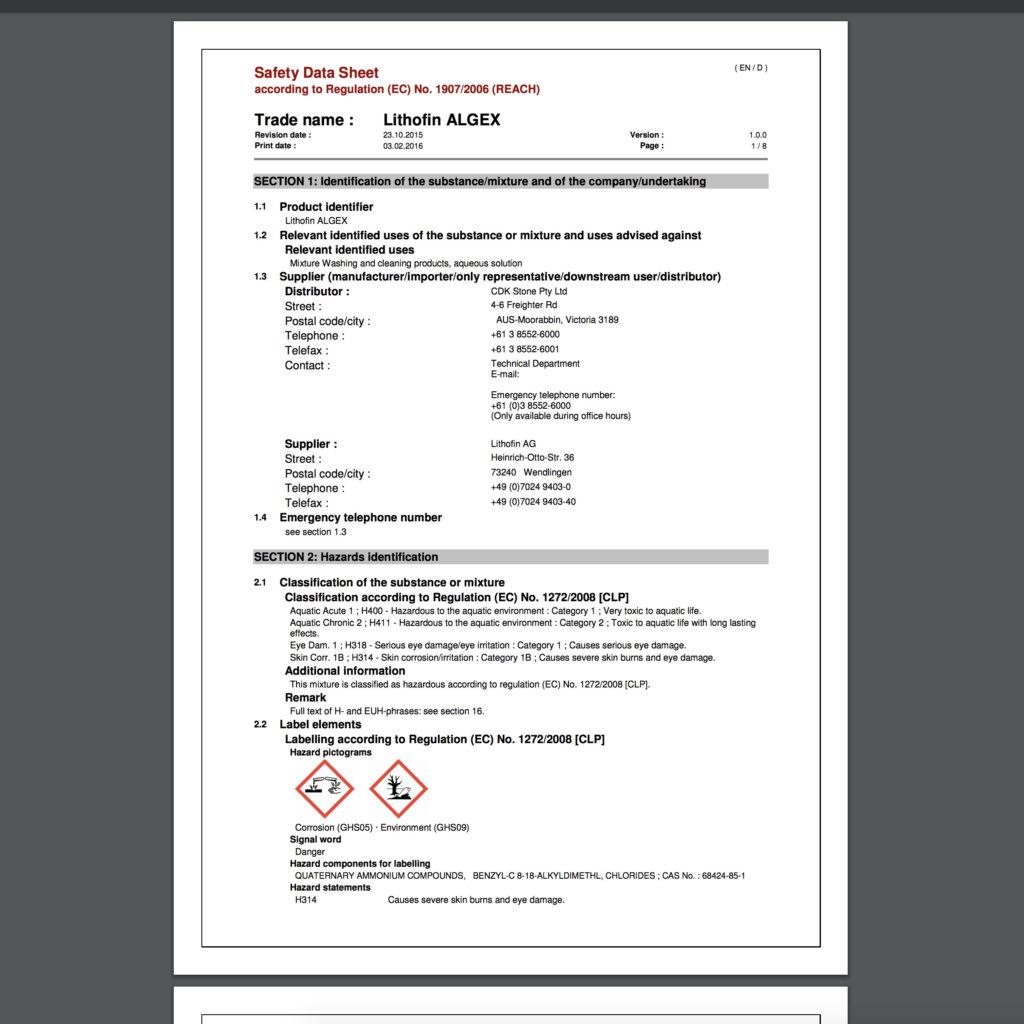 Lithofin Safety Data Sheets