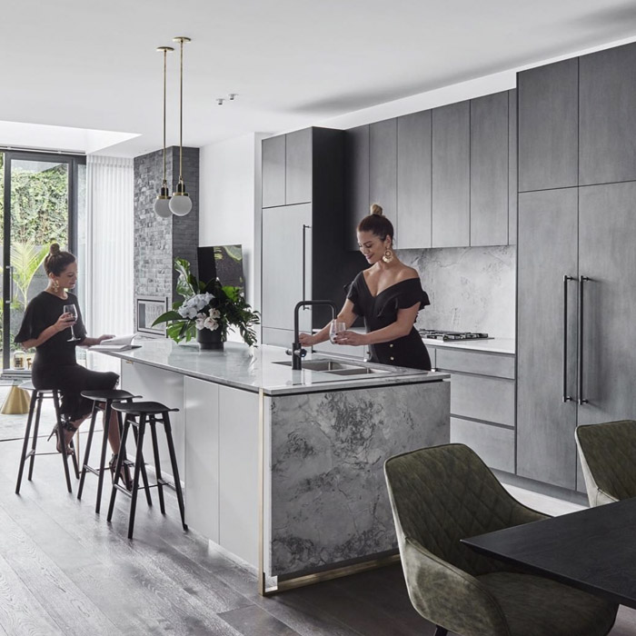 Alisa & Lysandra Superwhite Dolomite CDK Stone Kitchen