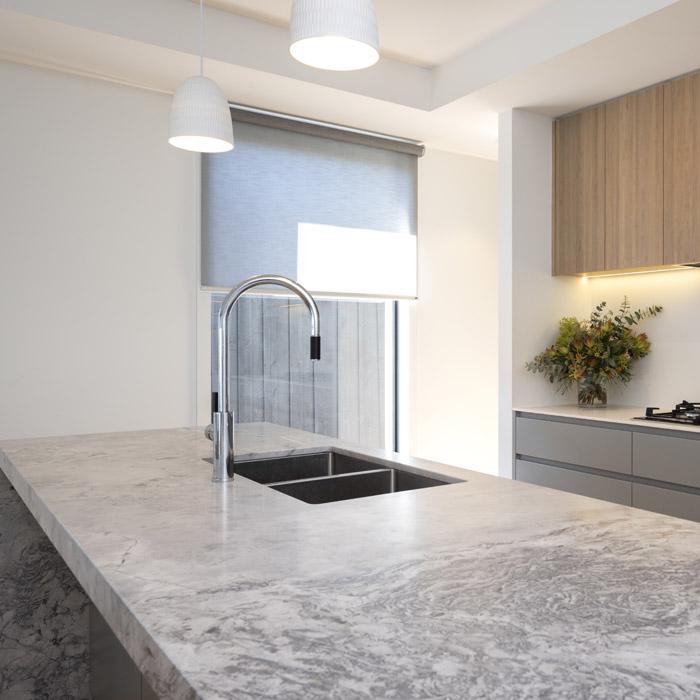 Superwhite Dolomite CDK Stone Kitchen Grey Benchtop