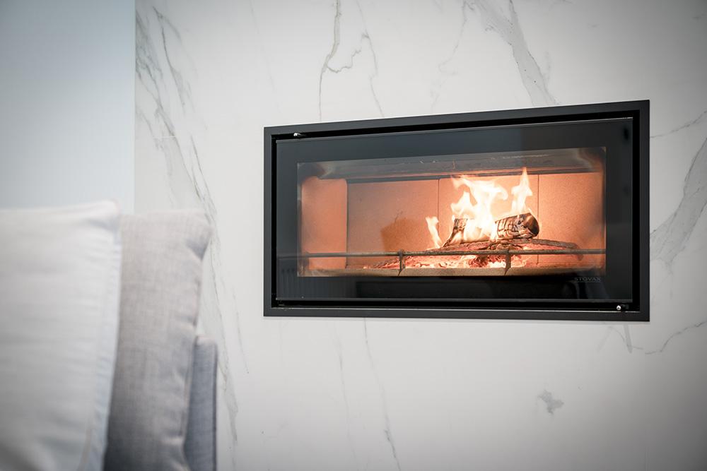 Neolith Estatuario Fireplace Sintered Stone Kitchen Benchtops Bathrooms Floors Walls Vanity BBQ Indoor Outdoor CDK Stone